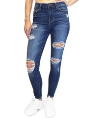 almost famous juniors' distressed high rise skinny jeans