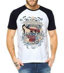 camiseta criativa urbana raglan praia surf - masculino