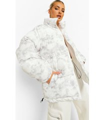 marble print oversized puffer jacket, white