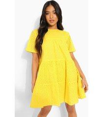 petite gesmokte broderie jurk met korte mouwen, yellow