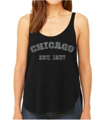 la pop art women's premium word art flowy tank top- chicago 1837
