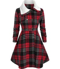plus size checked a line faux fur collar tunic coat