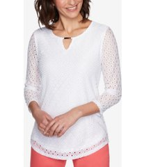 ruby rd. misses knit beat eyelet top