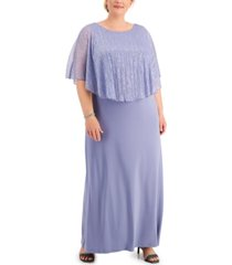 connected plus size cape-overlay dress