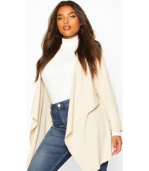 plus waterfall military detail belted jacket, stone