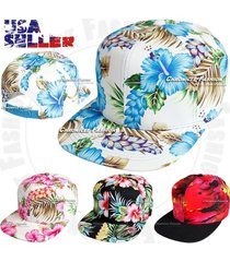 hawaiian snapback baseball cap tropical flat bill adjustable hawaii floral hat