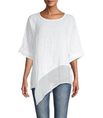 saks fifth avenue women's asymmetrical linen-blend top - white - size m