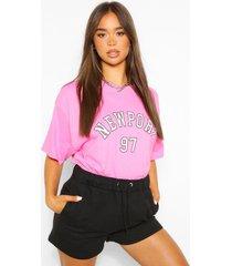 oversized newport slogan boyfriend t-shirt, pink