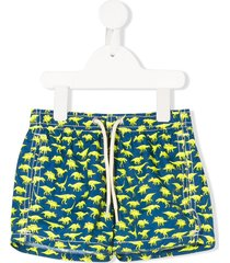 mc2 saint barth dinosaur print drawstring swim shorts - blue