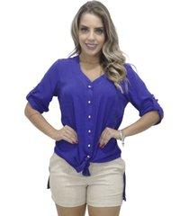 camisa mamorena comprida decote v azul - kanui