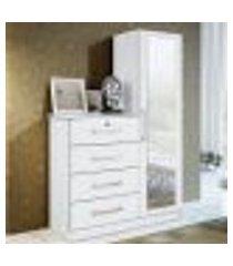 cômoda belize plus 4 gavetas e porta com espelho - branco textura