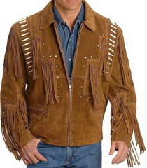 mens traditional leather western jacket coat with fringes bones & beads cowboy