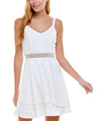 crystal doll juniors' tiered eyelet fit & flare dress