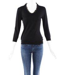 alexander mcqueen v-neck mesh sweater black sz: custom