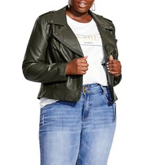 plus size women's city chic whipstitch faux leather biker jacket