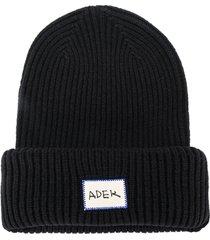 ader error ribbed-knit beanie - black