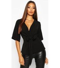 knot front woven blouse, black
