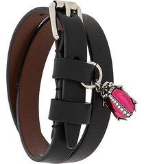alexander mcqueen buckle-strap ladybird-charm bracelet - black