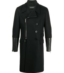 neil barrett tailored coat with long leather cuffs - black