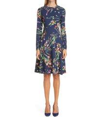 women's lela rose wildflower print long sleeve tiered crepe dress, size 18 - blue