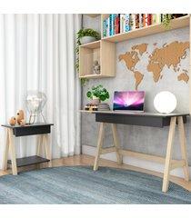 escrivaninha cavalete e mesa lateral cavalete natural preto casah - preto - dafiti