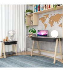escrivaninha cavalete e mesa lateral cavalete natural preto casah