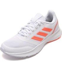 tenis running blanco-coral neón adidas performance nova flow