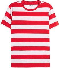 camiseta m/c a rayas gruesas rojas color rojo, talla s