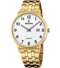 reloj acero dorado festina