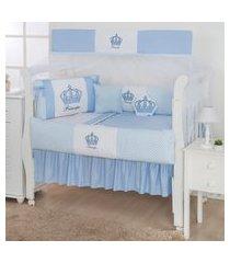 kit berço coroa azul bebê 12 peças
