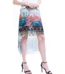 saia 101 resort wear mullet chifon estampado folhas coloridas