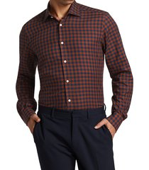 saks fifth avenue men's collection large gingham sport shirt - blue rust - size xxl