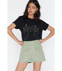 womens pocket utility shorts - sage