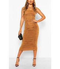 bandeau ruched maxi dress, tan