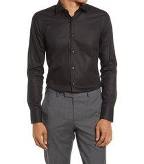 men's boss jenno slim fit cotton dress shirt, size 16.5 - black