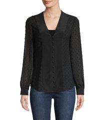 l'agence women's fallon textured button-down blouse - black - size s