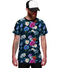 camiseta di nuevo jardim florido style azul verão 2019