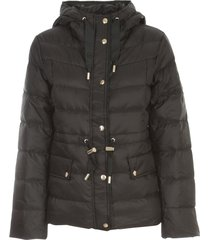 short hooded padded jacket w/coulisse