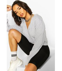 v neck cropped toggle hoodie, grey marl