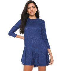 vestido mng barcelona curto bordado azul