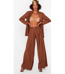 womens business as usual wide-leg belted pants - brown