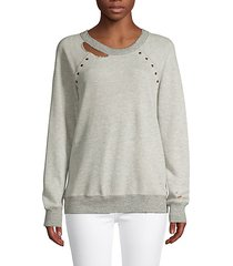 studded cotton blend sweatshirt