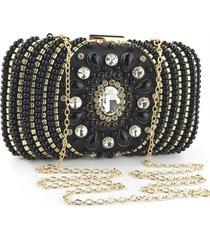 bolsa clutch liage festa bordada pedraria pedra cristal alça alcinha removível metal preta dourada - kanui