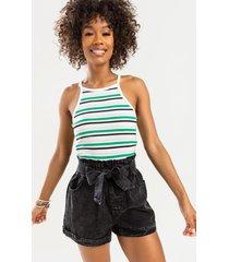 women's mallary striped sweater tank top in white by francesca's - size: l