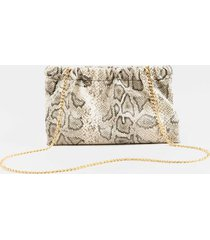 amiee ruched snap snake clutch in gray - gray