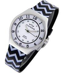 reloj negro montreal rayas