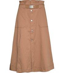 split skirt knälång kjol brun hope