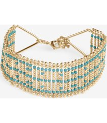 lucky brand gold-tone wide beaded woven bracelet