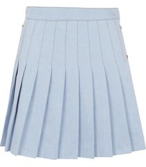 balmain short hw pleated denim skirt
