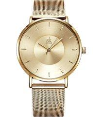 reloj mujer lujo ultra delgado elegante shengke 0059 dorado